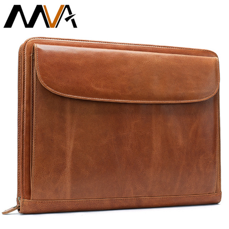 MVA Clutch Bag for Men Leather Document Bag A4 File Folder Bags Male Clutch Card Holder