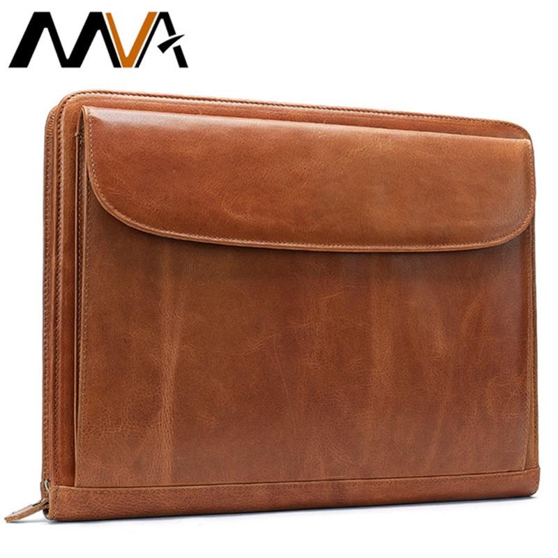 Bolso de mano MVA para hombres bolso de cuero para documentos A4 carpeta de archivos bolsas hombre embrague tarjetero hombres bolsos Cartera de almacenamiento monedero 8704