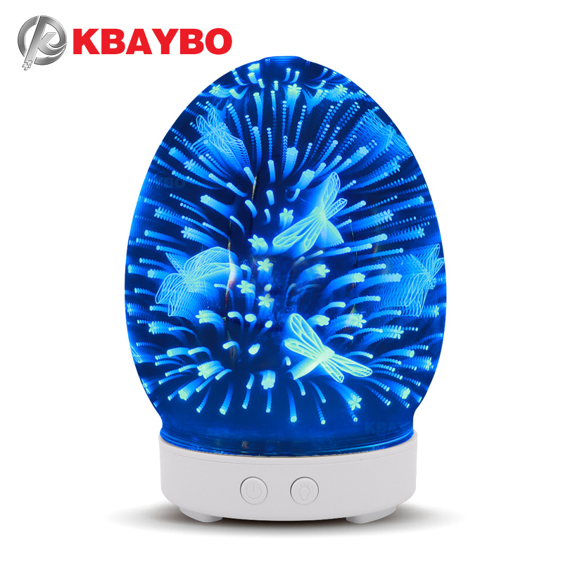 KBAYBO 100ml Air humidifier glass diffuser with 7 colors LED lights ultrasonic air humidifier mist maker fogger for home office hot sale mount fuji air humidifier mute usb volcano diffuser home office colorful light mist maker fogger 3 colors