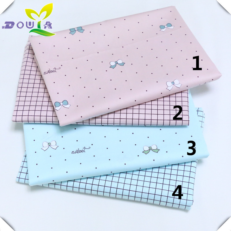 Pure cotton twill fabric cartoon bows AB printing fabric baby bed sheet bag covered with whole cotton cloth