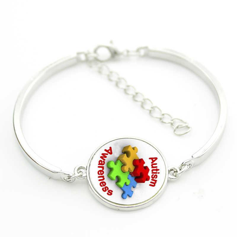 TAFREE Модные Цвет Сигнальный Браслет аутиста c пазлами штук изображение стеклянный браслет из кабошона thr лечение аутизма ювелирные подарки идея NS190
