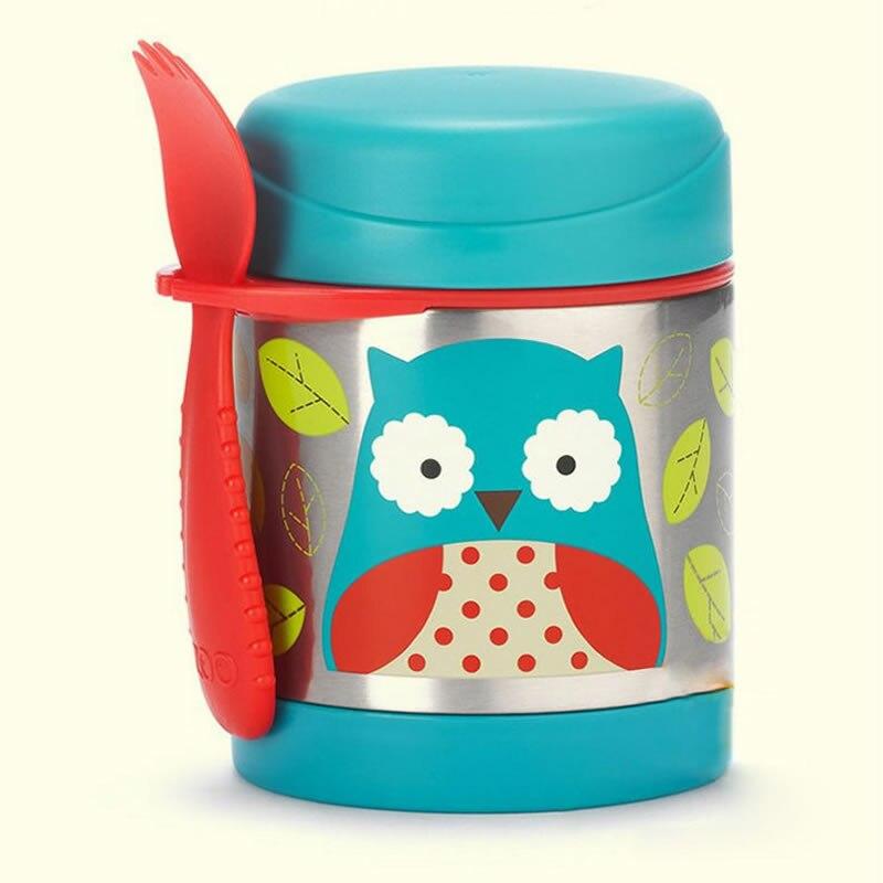 Modèle de bande dessinée de la tasse 325 ml de vide de pot de nourriture d'enfants de réservoir de vide d'acier inoxydable de bébé avec une fourchette libre de Silicone