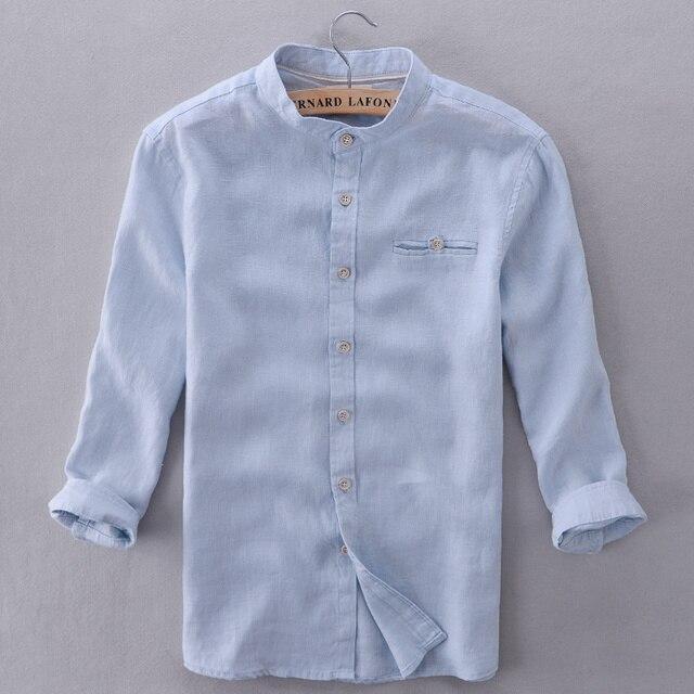 5e938ba503f Италия Фирменные футболки мужские Лен Цвет небесно-синий современный  Однотонная рубашка мужская повседневная три четверти