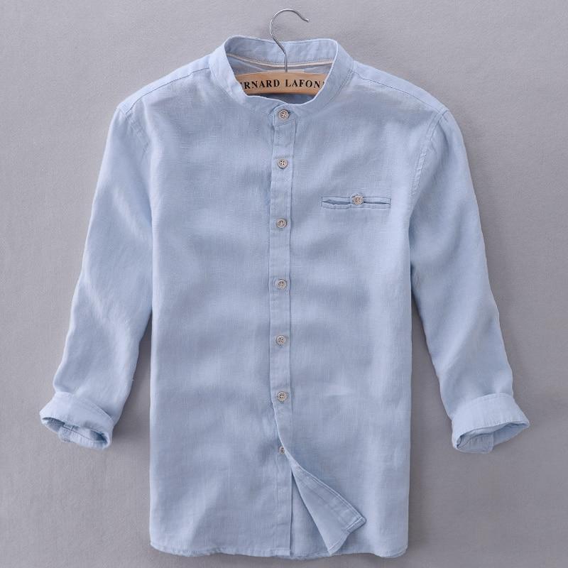 Italy brand shirts men linen sky blue modern solid shirt for Mens summer linen shirts