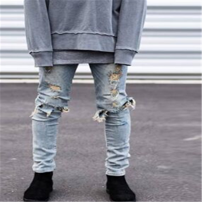 ee998885 Fashion autumn stretch ripped designer brand jeans hip hop slim fit men  broken demin destroy jeans blue and black swag PANTS-in Jeans from Men's  Clothing on ...