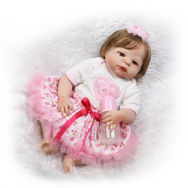 New 23 Full Silicone Princess Reborn Baby Doll  Lifelike Play House Newborn Bebe girl Babies  Bathe Shower Bedtime ToyNew 23 Full Silicone Princess Reborn Baby Doll  Lifelike Play House Newborn Bebe girl Babies  Bathe Shower Bedtime Toy