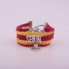 Drop Shipping Unisex Infinity National Flag Spain Bracelet Heart Charm Leather Bracelet & Bangles for Women Men Jewelry vintage heart crown flag waterdrop bracelet for women