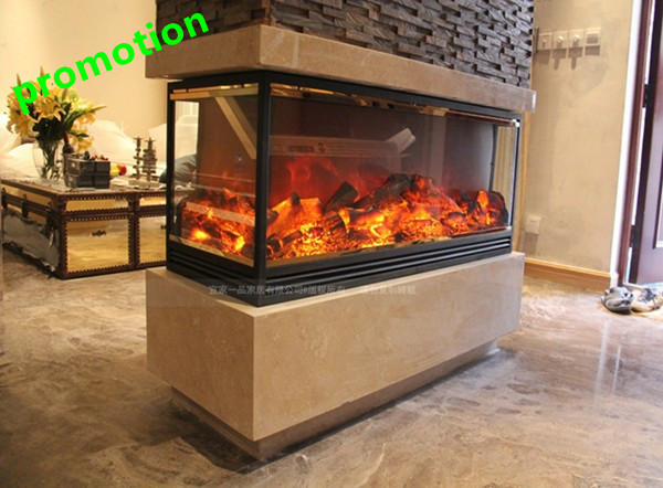 Decor flame 4 sided electric fireplace heater in electric for 4 sided fireplace