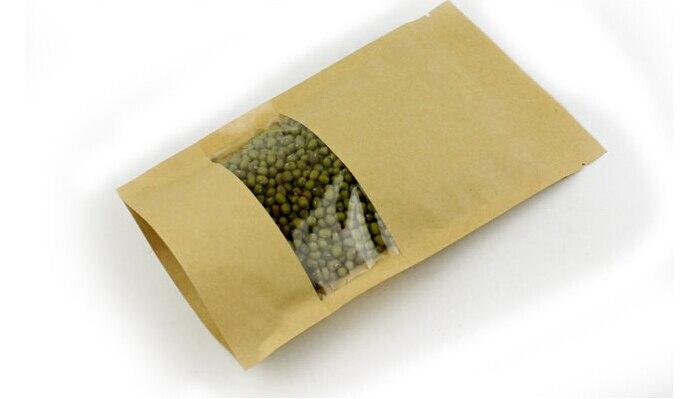 1000 unids/lote 12x20 + 4 cm bolsa de papel kraft marrón con cremallera de pie de ventana/cierre de cremallera bolsa de embalaje de joyería bolsas de papel para regalos/té-in Envase y exposición de joyería from Joyería y accesorios    1