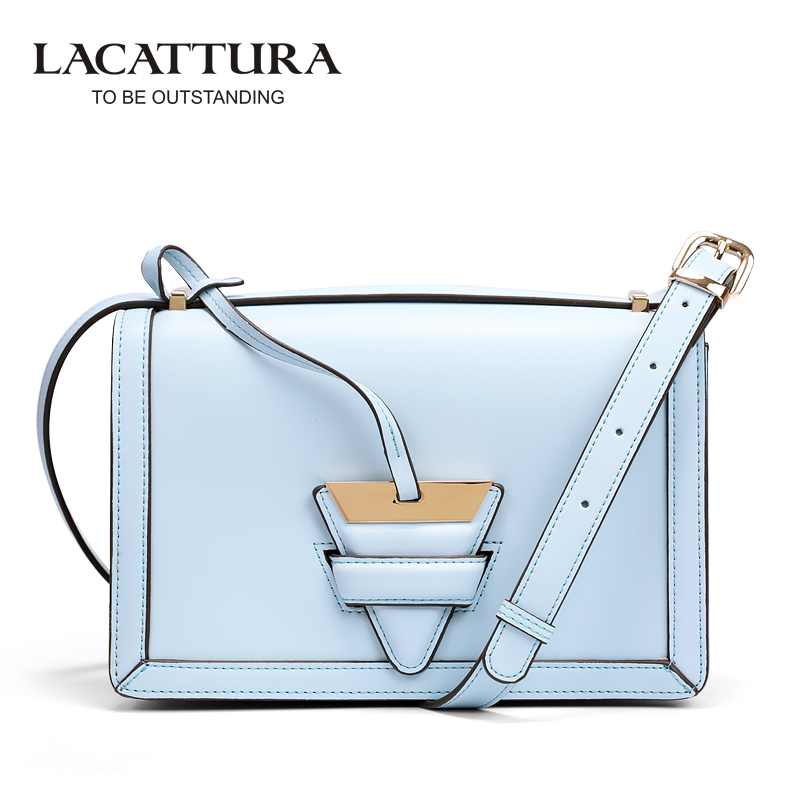 ФОТО A1306 LACATTURA 2017 fashion cow leather crossbody bags for women triangle hasp makeup bags Bolsa Feminina Bolsas casual