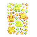 2 sheets 60 pieces New Glowing puffy Pony Sticker Glow in Dark Luminous sticker Pegasus horse and stars sticker kids toys