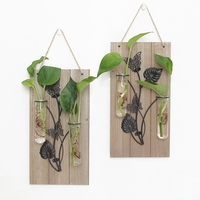 American Style Wooden Iron Decorative Wall Decorations Home Living Room Haning Hydroponic Decoracion Hogar Iron Wall