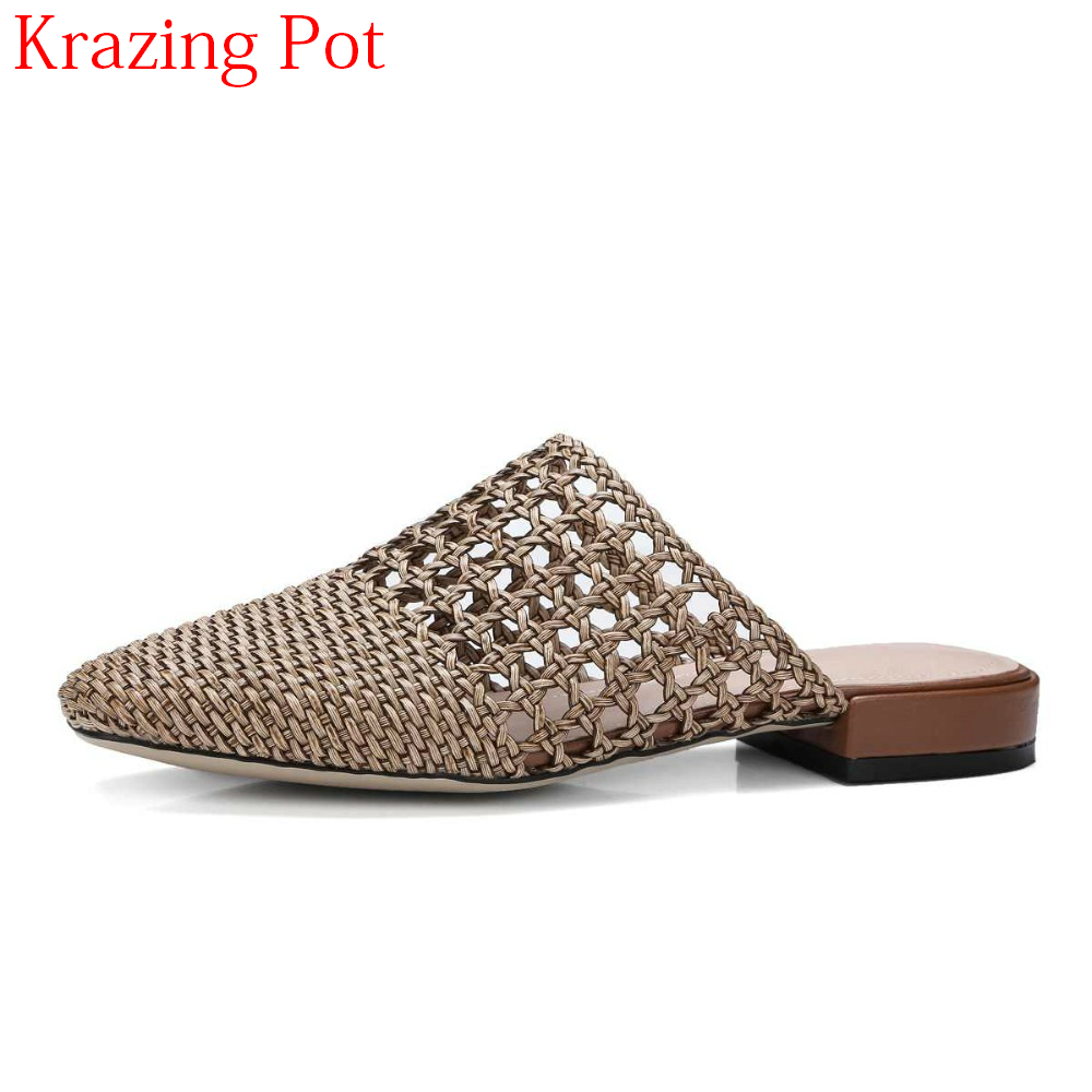 2019 Large Size Brand Summer Slip on Low Heels Gladiator Slingback Outside Slippers Slingback Elegant Straw Hollow Mules L11-in Slippers from Shoes    1