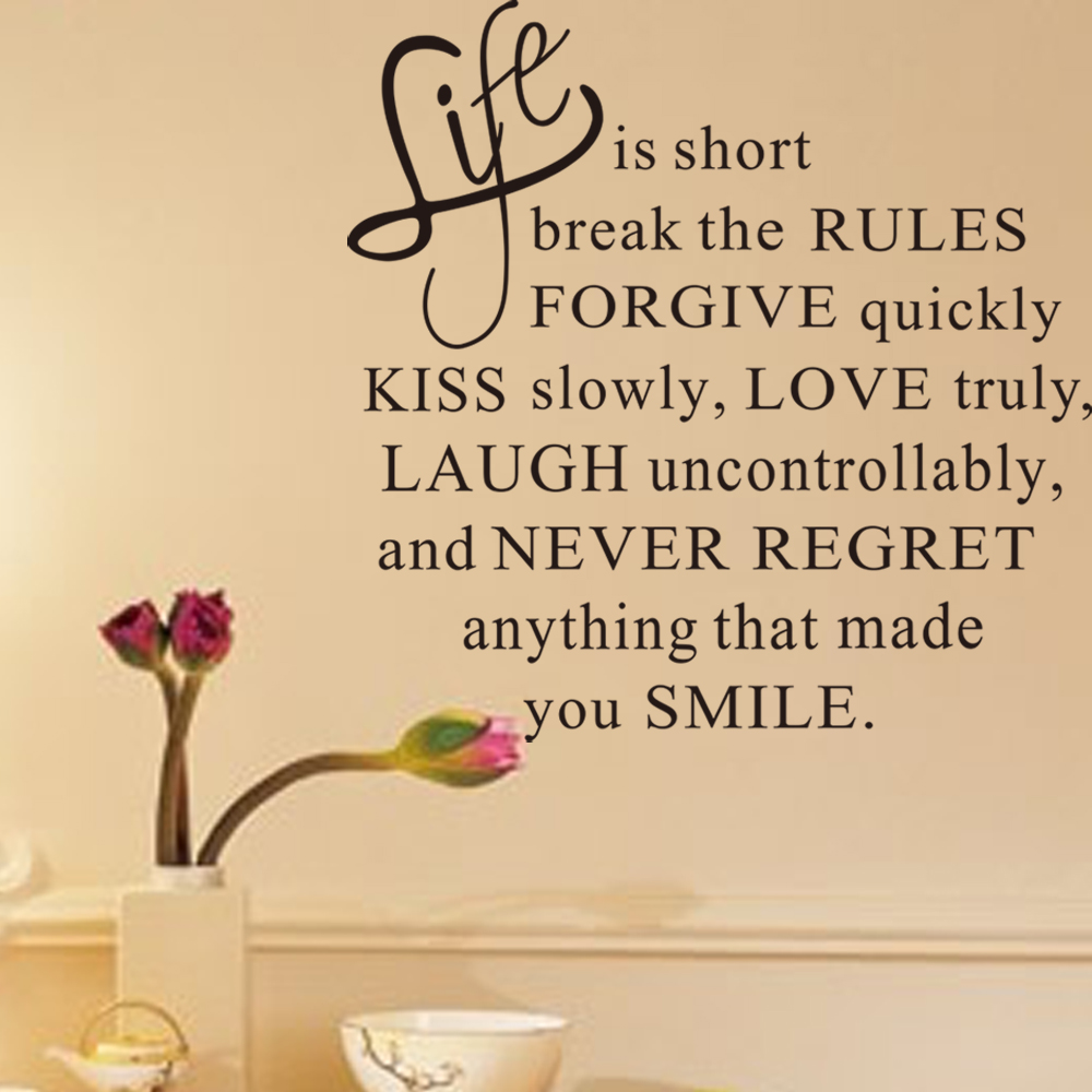 Creative decoration Quote Life Is Short Letters Removable Wall ...