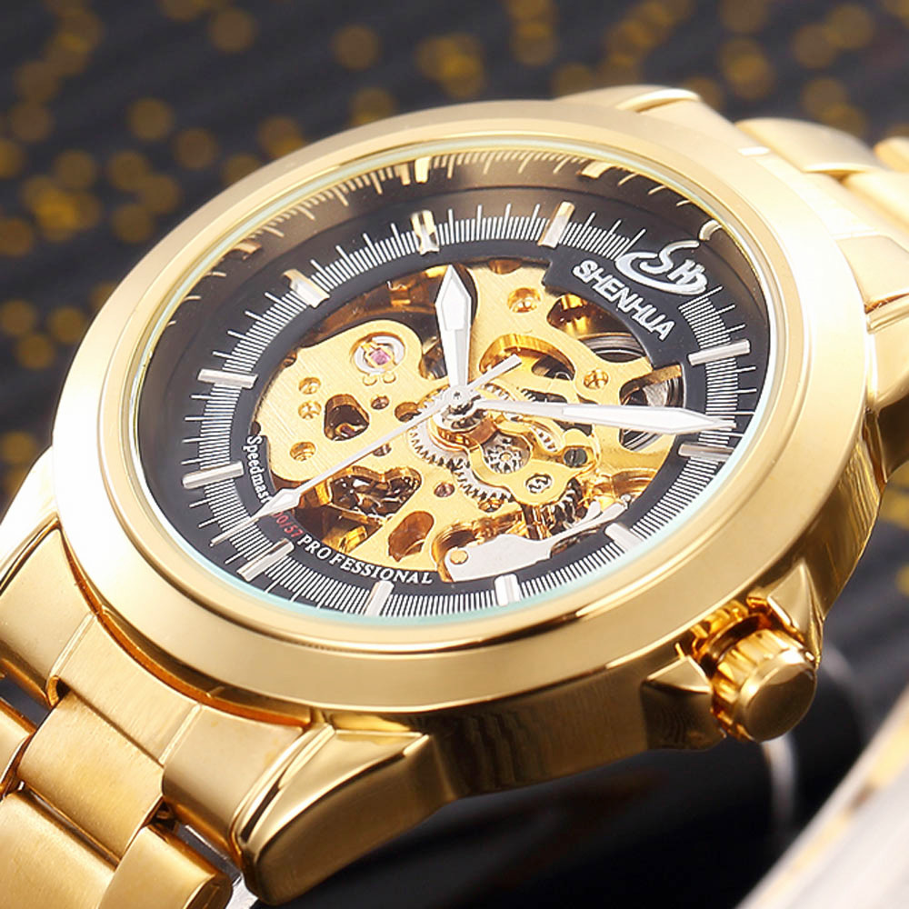 SHENHUA Luxury Men's Gold Steel Transparent Skeleton Watch Automatic Mechanical Watches Steampunk Clock men Relogio Masculino shenhua luxury gold flywheel automatic mechanical skeleton watch men male waterproof clock hollow transparent watch wrist watch