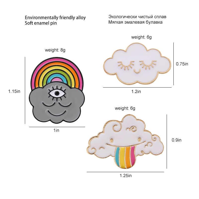 11 Syles, Радужные облака, эмаль, булавка на заказ, темно-белый мешочек для брошек, одежда, Нагрудный значок, значок, погода, ювелирное изделие, подарок для детей, девочек
