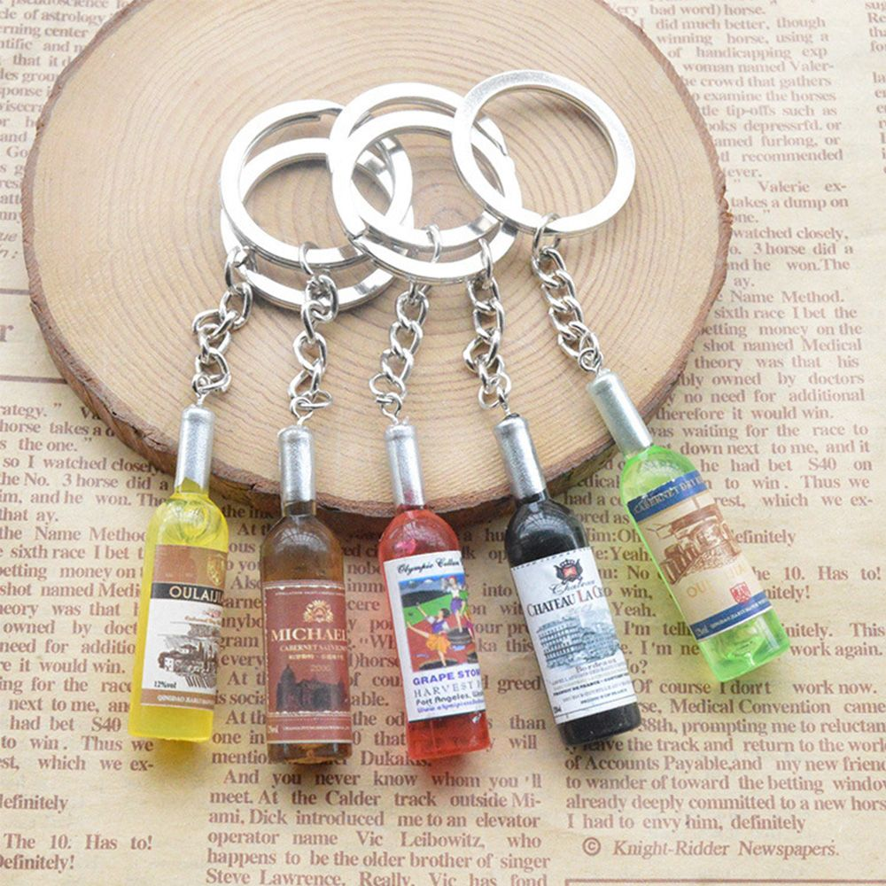 Resin Wine Bottle Key Chains Key Rings Alloy Charms Gifts For Mobile Phone Creative Women/Men's Fashion Handmade