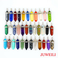JUWEILI Jewelry Wholesales Mixed 35pcs Natural Stone Hexagram Prism Two Point Chakra Reiki Pendulum Pendant Women Men Amulet