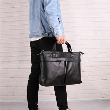 Nesitu New Black A4 Genuine Leather 14\'\' Laptop Men Briefcase Messenger Bags Office Male Portfolio Handbag Shoulder Bag M6436