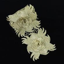 1 ярд 10 см Роза аппликация из кружева с золотой вышивкой Швейные полиэстер цветок Venise Швейные кружева планки LC141