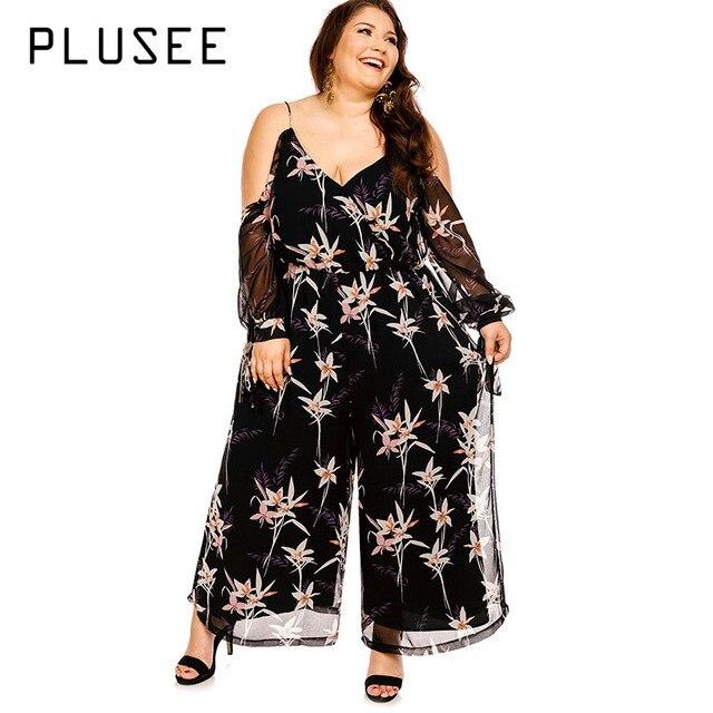 0c2eeeb1e5f Plusee Women Plus Size 4XL 5XL Autumn Black Jumpsuit Plain Dark Black  Chiffon Loose Office Jumpsuit Plus Size Jumpsuit