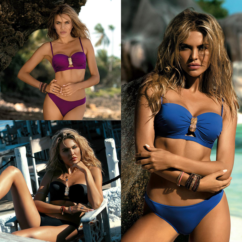 Bikini Sexy Swimsuit For Women Swimwear Bikini Set Metal Pineapple Parts Splicing Camisole 2019 Bikini Cut Bodysuit Push Up