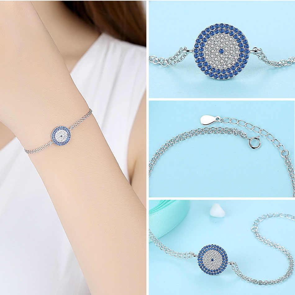 Подлинный eleshe Настоящее серебро 925 проба турецкий синий глаз Круглый браслет с подвесками женский модный серебряный браслет свадебные украшения