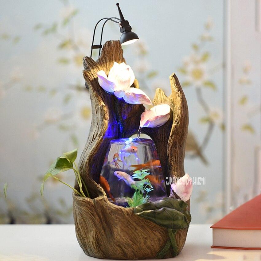 Décoration d'intérieur Aquarium table petit verre Fishbowl créatif eau caractéristique Lotus fontaine Fishbowl avec lumière LED Aquarium