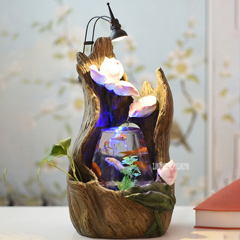 Indoor Decoration Aquarium Tabletop Small Glass Fishbowl Creative Water Feature Lotus Fountain Fishbowl With Led Light Fish Tank