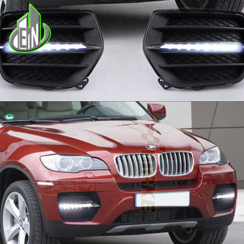 EN Car DRL kit 2010 2011 2012 For BMW X6 E71LED Daytime Running Light bar Super bright fog auto lamp Daylight car led drl 12v drl led daytime running lights for bmw e90 05 09 daylight kit car styling fog light super bright cree bar car led drl