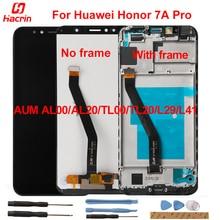 "Tela lcd + touchscreen para huawei honor 7a, tela lcd com moldura para huawei honor 7a aum al00/al20/tl00/tl20/l29/l41 5.7"""