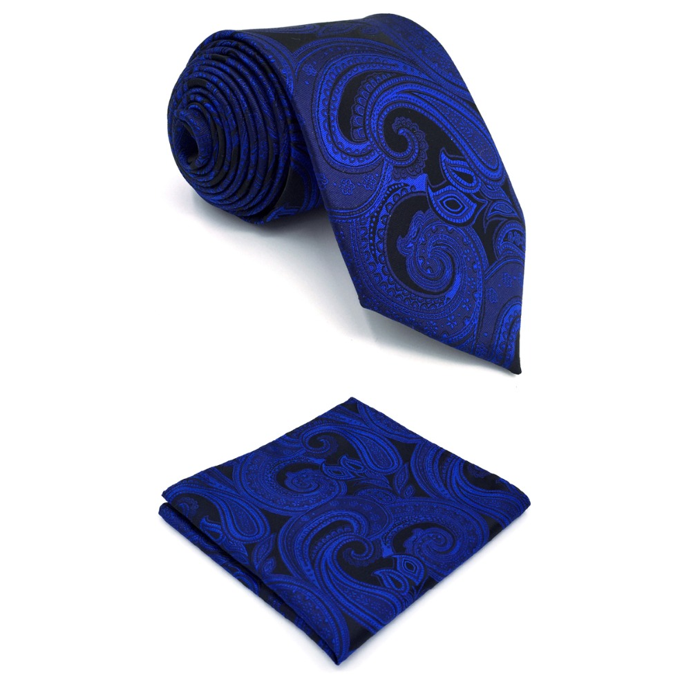 B7 Navy Paisley Silk Mens Necktie Set Fashion Classic Brand New Ties for male Wedding Hanky extra long size 63