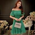 Dabuwawa высокой талии эластичный пояс шифоновое платье