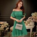 Dabuwawa high waist elastic waist chiffon dress