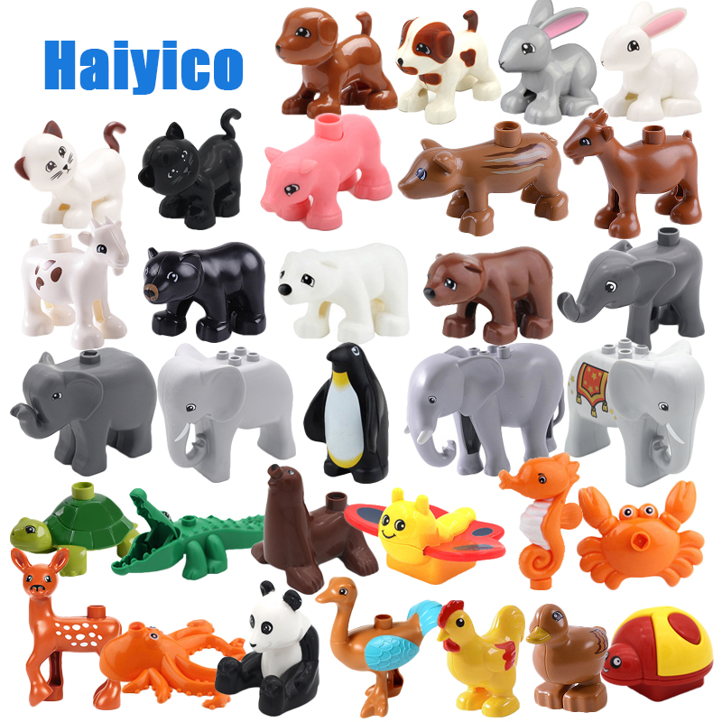 Zoo Model Building Blocks Original big Particles Bricks accessory Toys Compatible with Duplo Animal deer panda Elephant penguin цена