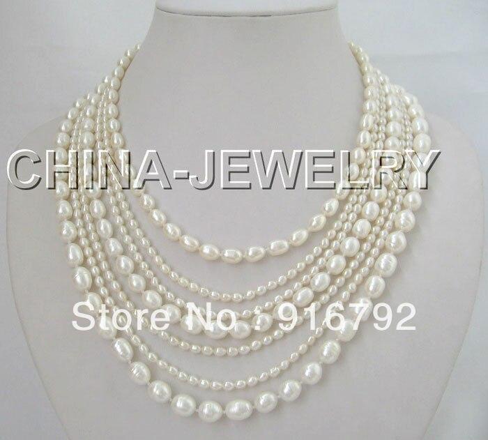 P & P>>>>> Bella 17-21 7 row natural white pearl FW collana-GPP & P>>>>> Bella 17-21 7 row natural white pearl FW collana-GP