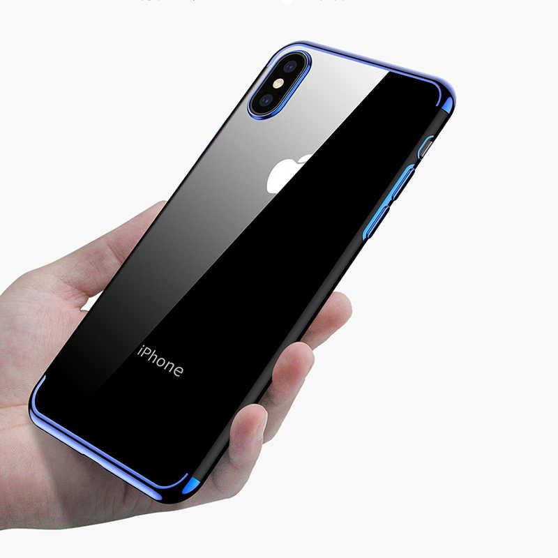 スマート透明ケース 7 8 6 6 S 6 S プラス X テン 10 11 プロ XS 最大 XR メッキソフト TPU 電話バッグケース鎧カバー