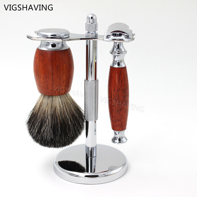Natural Wood Pure Badger Shaving Brush and Safety Razor Shaving set