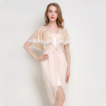 New Sexy Women Sleepwear Lace Cape Nightwear Casual Female Lingerie  Nightgown V-Neck Short Sleeve eee44886b