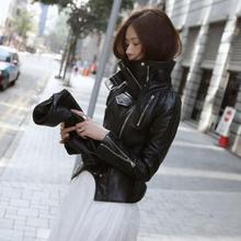 New fashion PU leather motorcycle jacket Women outerwear plus size stand collar outerwear tide T600