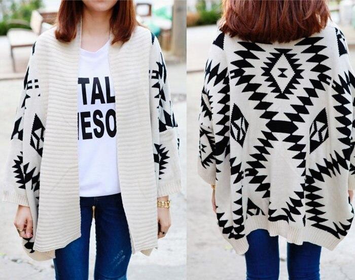 Online Shop Women Sweater Wrap Cape Cardigan Geometric Pattern ...