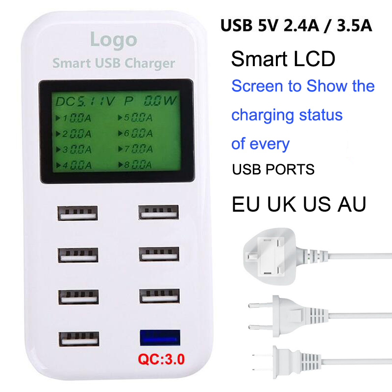 Fast Qualcomm QC 3.0 Quick Charge Smart USB Charger with LCD Display with 8 USB Power Ports for Mobile Phone and Tablets