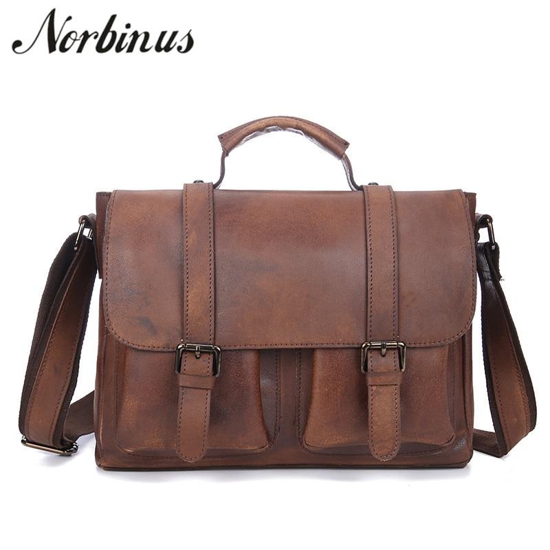 Norbinus Genuine Leather Men Business Briefcases Capacity Laptop Bag Casual  Shoulder Messenger Bags Male Large Handbag c281c63fcc735