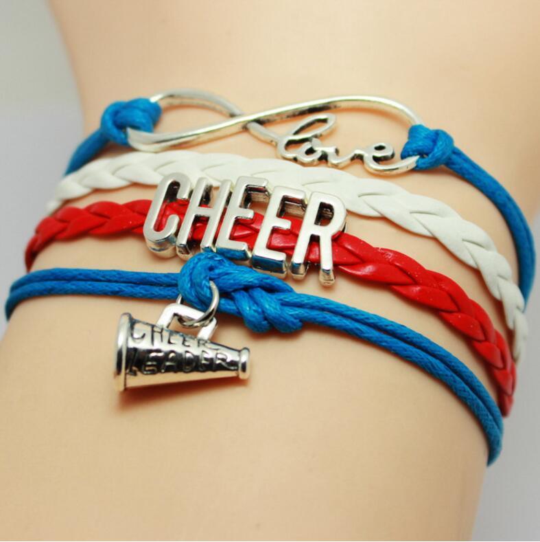 Cheer Charm Bracelets: 6pcs/lot New Fashion Infinity Love Cheer Bracelet Sport