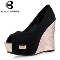 BONJOMARISA 2019 Sexy Black Platform Party Wedding Pumps Women 11.5 cm Spring Elegant Shallow Super High Heel Wedges Shoes Woman