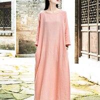 Nightgowns For Women spring Retro gown Long sleeve Cotton hemp Nightdress Womens sleep nightshirt