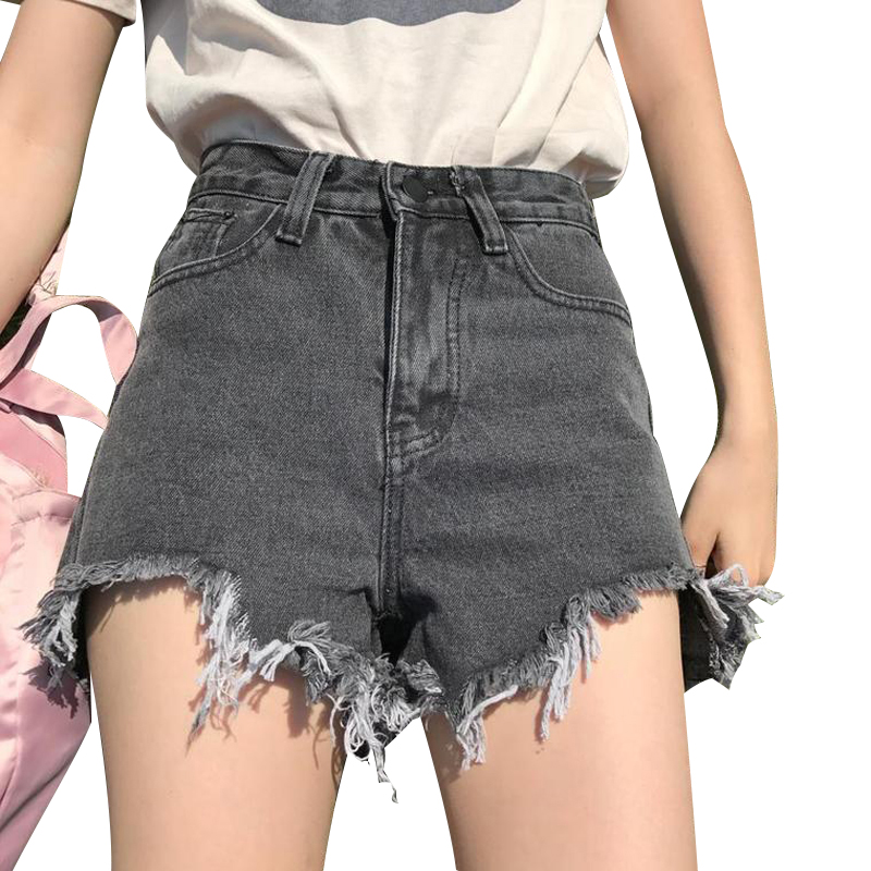 Hot Sale / 2018 New Harajuku Women's Jeans Summer High Waist Denim   Shorts   Casual Women Jeans   Shorts   Burr   Shorts   Hot Plus Size