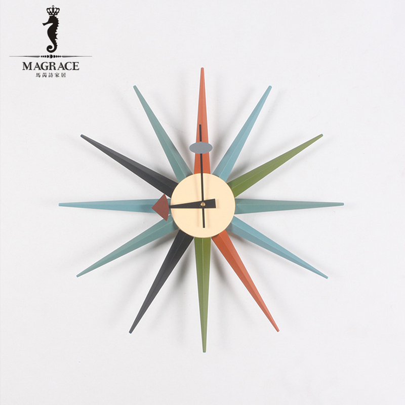 high quality decorative wooden creative wall clock silent living room sunburst natural wall clocks designer multi