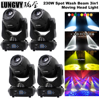 Free Shipping 4pcs/lot 230w LED Moving Head Beam Spot Wash 3in1 DJ Stage Light