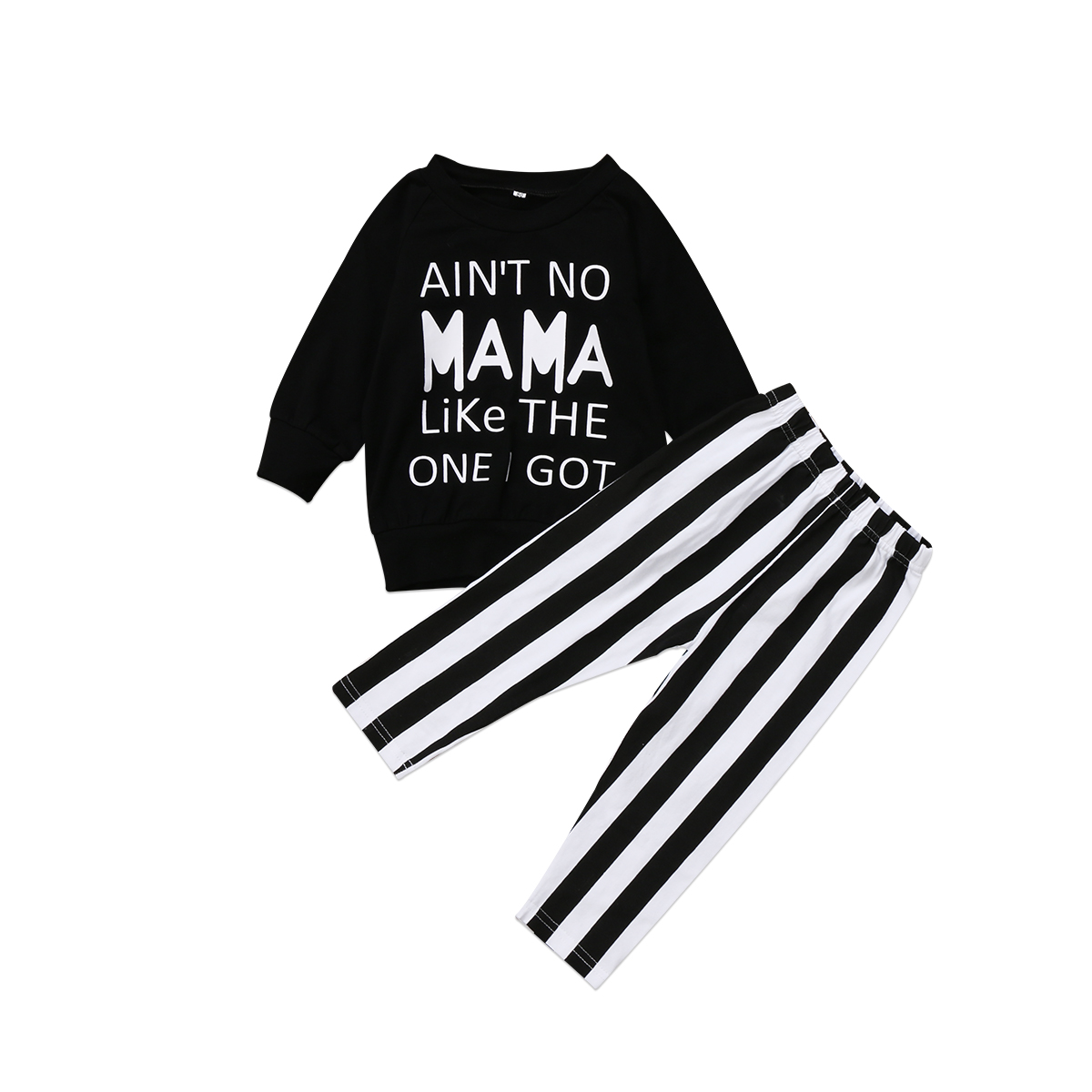 Fashion Toddle Kids Baby Girls Long Sleeve Black Tops Shirts Striped Pants Leggings Clothes Outfits Set